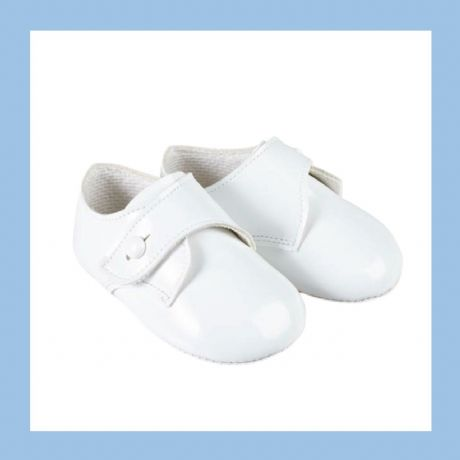 Baby Boys White Patent Baypod Pram Shoes